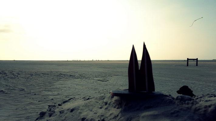 Dänemark, Rømø, Lakolk Strand. Mit auf dem Bild ist Picasso, der selbstverständlich schönste Hund aller Zeiten (Phil)