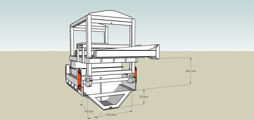 Schéma d'un moule à coffrage glissant pour béton extrudé avec son montage pour un coulage déporté et avec Hauteur variable
