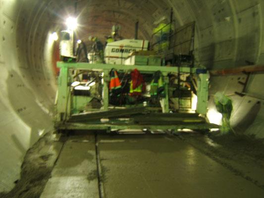 Réalisation de Béton à plat en Tunnel - Travaux de Béton Extrudé en Tunnel