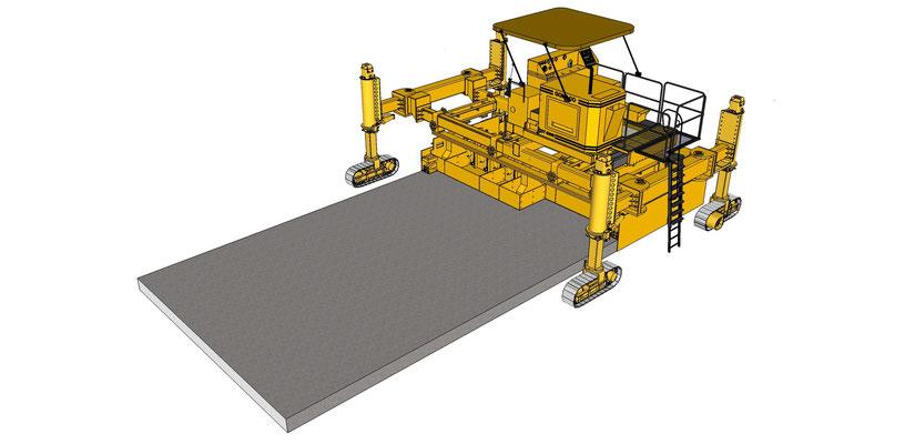 Schéma d'une Gomaco 6300 XY montée avec une table à largeur variable - Béton à plat