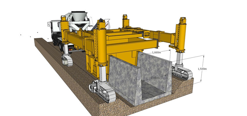 Schéma du chassis d'une Gomaco 6300 XY pour un coulage de caniveau en U de grande taille