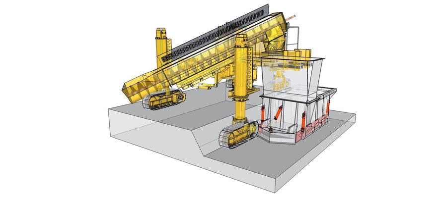 Schéma de montage d'une extrudeuse avec un coffrage glissant de caniveau U de grande taille
