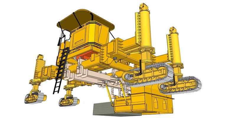 Schéma de montage d'une Gomaco 6300 XY avec un moule à caniveau déporté latéralement
