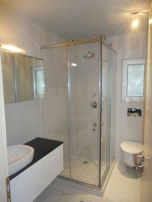 Ανοιγόμενη πόρτα για καμπίνα ντουζ, καμπίνα μπάνιου. Ιορδανίδης τζάμι-καθρέφτης-γυαλί Ηλιούπολη