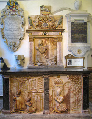 Lumley Chapel, St Dunstan's parish churchyard, Cheam: monument to Lady Jane Lumley (died 1577), designed in 1590. The bottom row reliefs are believed to be the only surviving depictions of interiors of the former Nonsuch Palace. (c) John Salmon