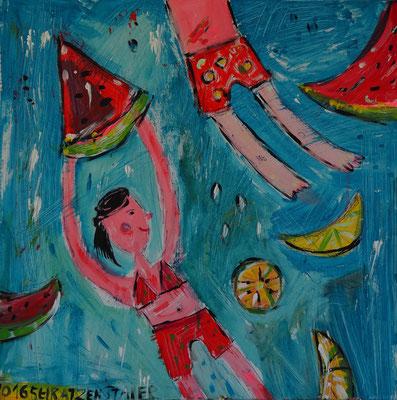 In Melonenlaune, 60 x 60 cm