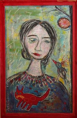 Die Philosophie der roten Katze, 90 x 60 cm