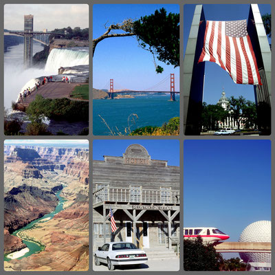 USA Highlights - v.l.n.r: Niagara Falls, Golden Gate, Talahassee, Grand Canyon, Lajitas Hotel, Orlando