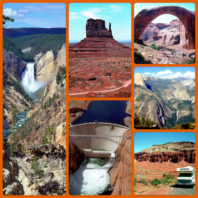 USA West - v.l.n.r.: Yellowstone NP, Monument Valley, Glen Canyon Dam, Rainbow Bridge, Yosemite NP, Capitol Reef NP