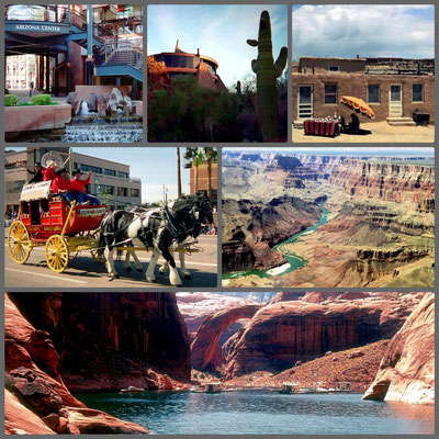 Arizona - v.l.n.r.: Arizona Center Phoenix, Marriott Hotel Tempe, Acoma Pueblo, Scottsdale, Grand Canyon, Rainbow Bridge