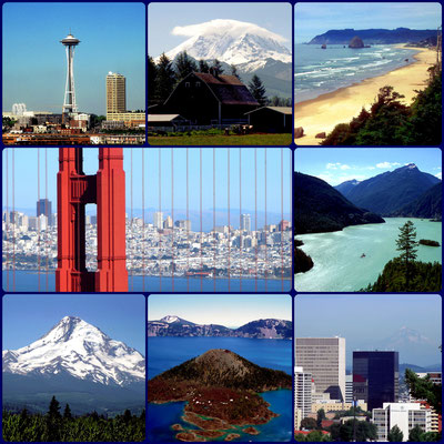 USA Nordwest - v.l.n.r.: Seattle, Mt. Rainier, Cannon Beach, San Francisco, Diablo Lake, Mt. Hood, Crater Lake, Portland & Mt. Hood