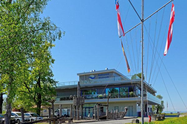 Das Rheinspitz Restaurant an der Mündung des Rheintalkanals in den Bodensee