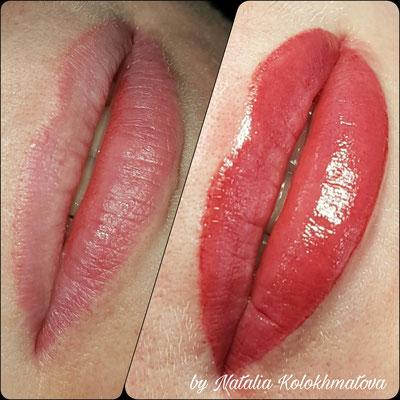 перманентный макияж губ фото +до +и после
