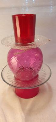 162. Waxinehouder van glas, 23 cm. hoog, handgemaakt (brocante)  €14,50