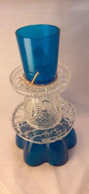 160. Waxinehouder van glas, 22 cm. hoog handgemaakt (brocante)  €14,50