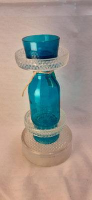 161. Waxinehouder van glas, 20 cm. hoog, handgemaakt (brocante)  €14,50