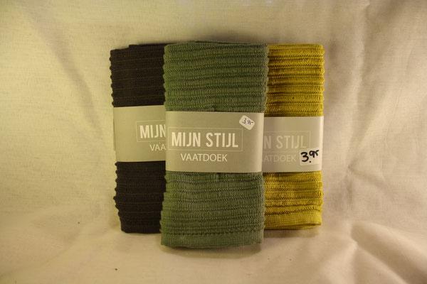 094. Vaatdoek Mijn Stijl Donkergrijs - Groen - Geel  €3,95