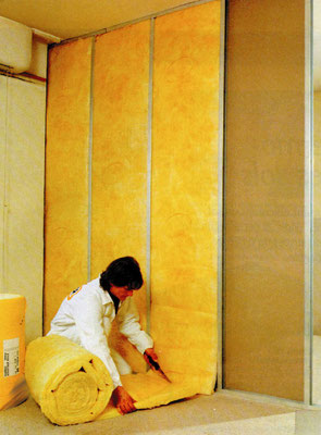Manta de lana de fibra de vidrio aislantes termoac sticos hyn lima per - Fibra de vidrio aislante acustico ...