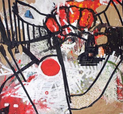 """""""Hahnenkampf"""" (2010) (entstanden vor Publikum während der Vernissage """"5 Künstler vor Gericht"""", 26.11.10, Verwaltungsgericht Hannover)"""