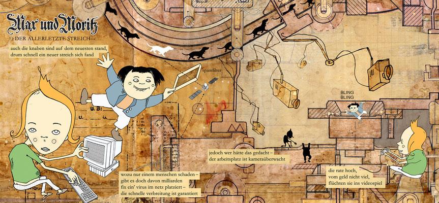 """""""Max und Moritz reloaded"""" Illustration für die Hannoversche Allgemeine Zeitung © Stefan Hoch"""
