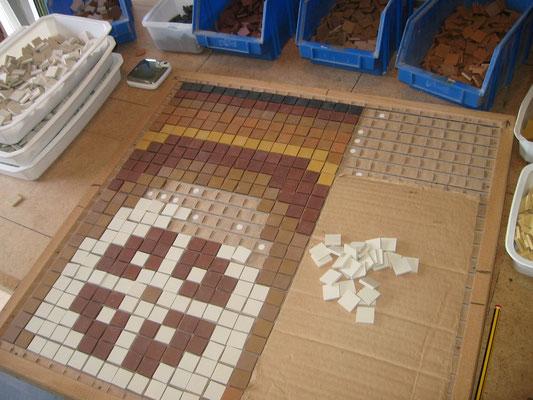 calpinage en grille de la frise mosaïque