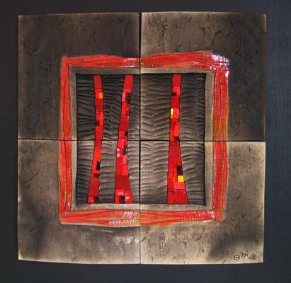 très gd carré, 65x65 cm, MAGMA TRACE 2015