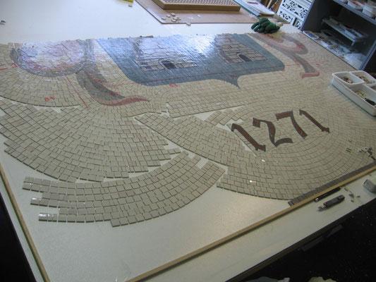 remplissage du fond partie basse de la fresque