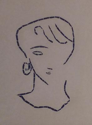 Sophie du 32,  Un petit graff en grés cérame monté sur filet puis noyé dans l'enduit plâtre/ terre, dans le mur...