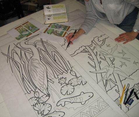 dessins qui serviront de supports aux fresques de mosaïque
