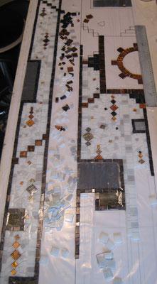 début du travail en mosaïque