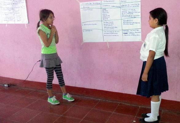 Kinderprojekt Matagalpa 2014: Schülerinnen präsentieren im Workshop die Ergebnisse ihrer Gruppenarbeit. Foto: MIRIAM Nicaragua