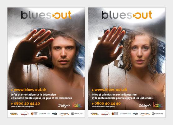 BLUES-OUT | PROGRAMME D'INFORMATION, D'0RIENTATION ET D'ÉCOUTE EN SANTÉ MENTALE | INDENTITÉ VISUELLE, LOGO | AFFICHES