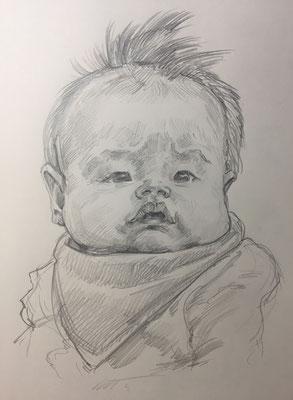 【鉛筆デッサン作品例】お子様の似顔絵をアート作品に仕上げます!
