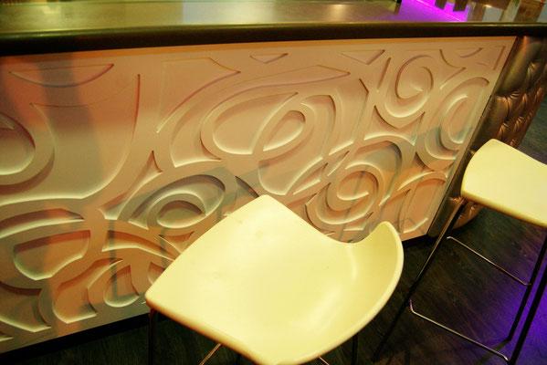barras de bar  BARRA DE SILESTONE, MADERA Y PANEL COMPOSITE