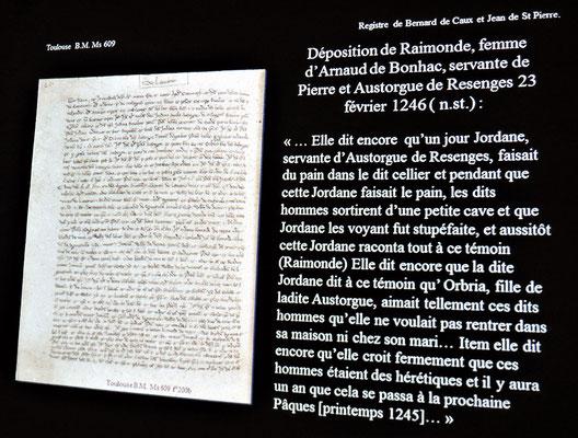 Un des textes projeté: ici, c'est un texte de l'inquisition