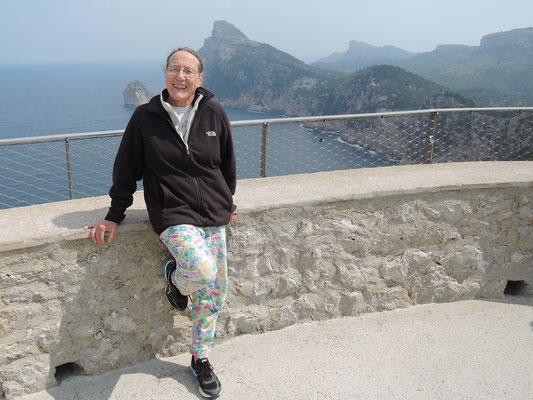 Ingrid au point de vue: Mirador de s Colomer (Cap de Formentor au Nord de l'île)