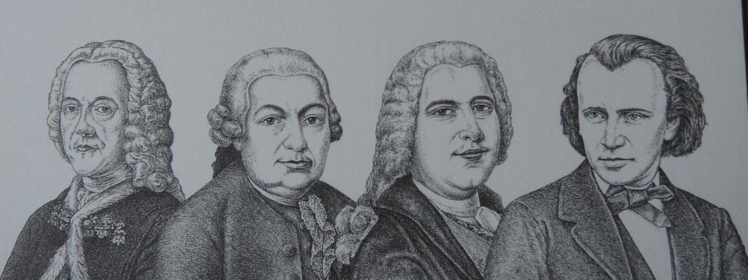 Quatre musiciens de Hambourg: A.Hasse, Ph.E.Bach, G.Ph.Telemann, J.Brahms