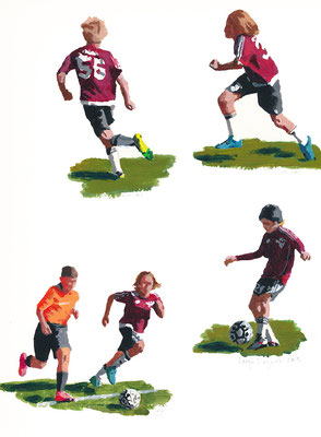 """Soccer Kids, Acrylic on Paper, 9x12"""" Available"""
