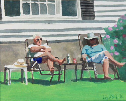 """Relaxing on the Boulevard, Acrylic on Paper, 9x12"""" SOLD"""