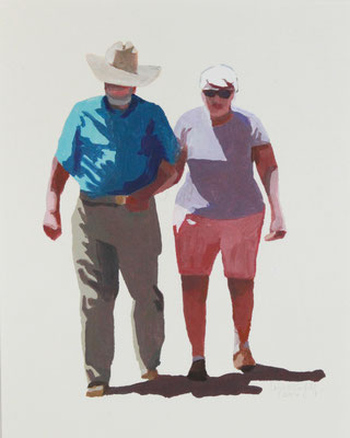 "Cowboy Escort, Acrylic on Paper, 8x10"" SOLD"