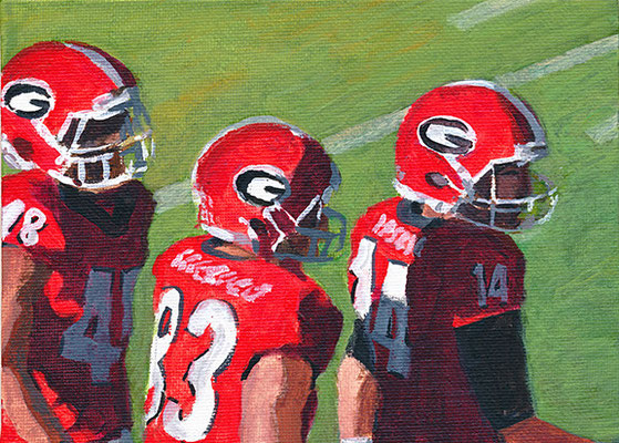 """Sunny Day Dawgs, Acrylic on Board, 5x7"""" Available"""