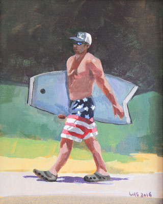 """Patriotic Boogie Boarder, Acrylic on Canvas, 8x10"""" Available"""