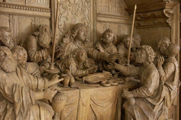 Schnitzerei am Gudewerdt Altar, das Abendmahl