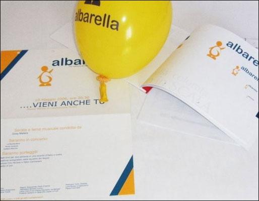locandina, palloncino personalizzato e manuale d'identità visiva del logo abarella