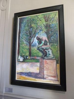 Der Denker von Auguste Rodin im Park des Dr. Linde - Gemälde von Edvard Munch