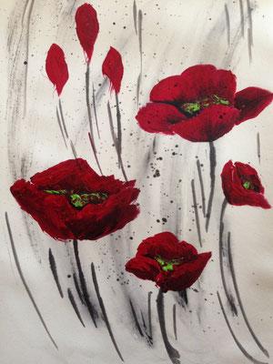 poppies, 18*25 cm, Acryl auf Karton, inkl. Passepartout, datiert, signiert, Unikat, 90 €