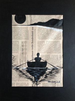 Hinterm Horizont gehts weiter, 24*30 cm, Acryl auf Zeitung, inkl. Passepartout, datiert, signiert, Unikat, 130 €