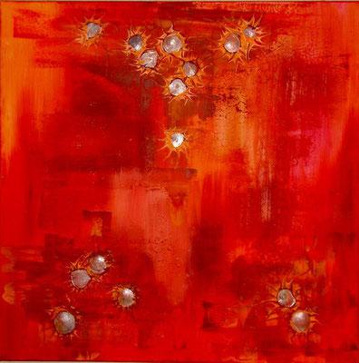 Perlmutsonnen im Rot, 100*100 cm, Acryl-Collage auf Leinwand, rahmenlos aufhängbar, datiert, signiert, Unikat, 780 €