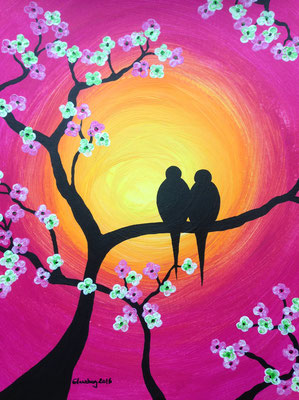 cherry blossom birds pink, 30*40 cm, Acryl auf Karton, inkl. Passepartout, datiert, signiert, Unikat, 120 €