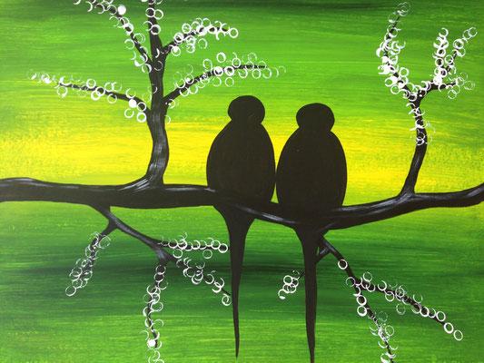 cherry blossom birds green, 30*40 cm, Acryl auf Karton, inkl. Passepartout, datiert, signiert, Unikat, 120 €
